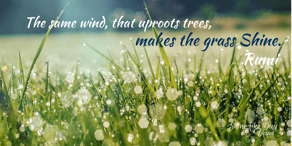 The same wind that uproots trees, makes the grass