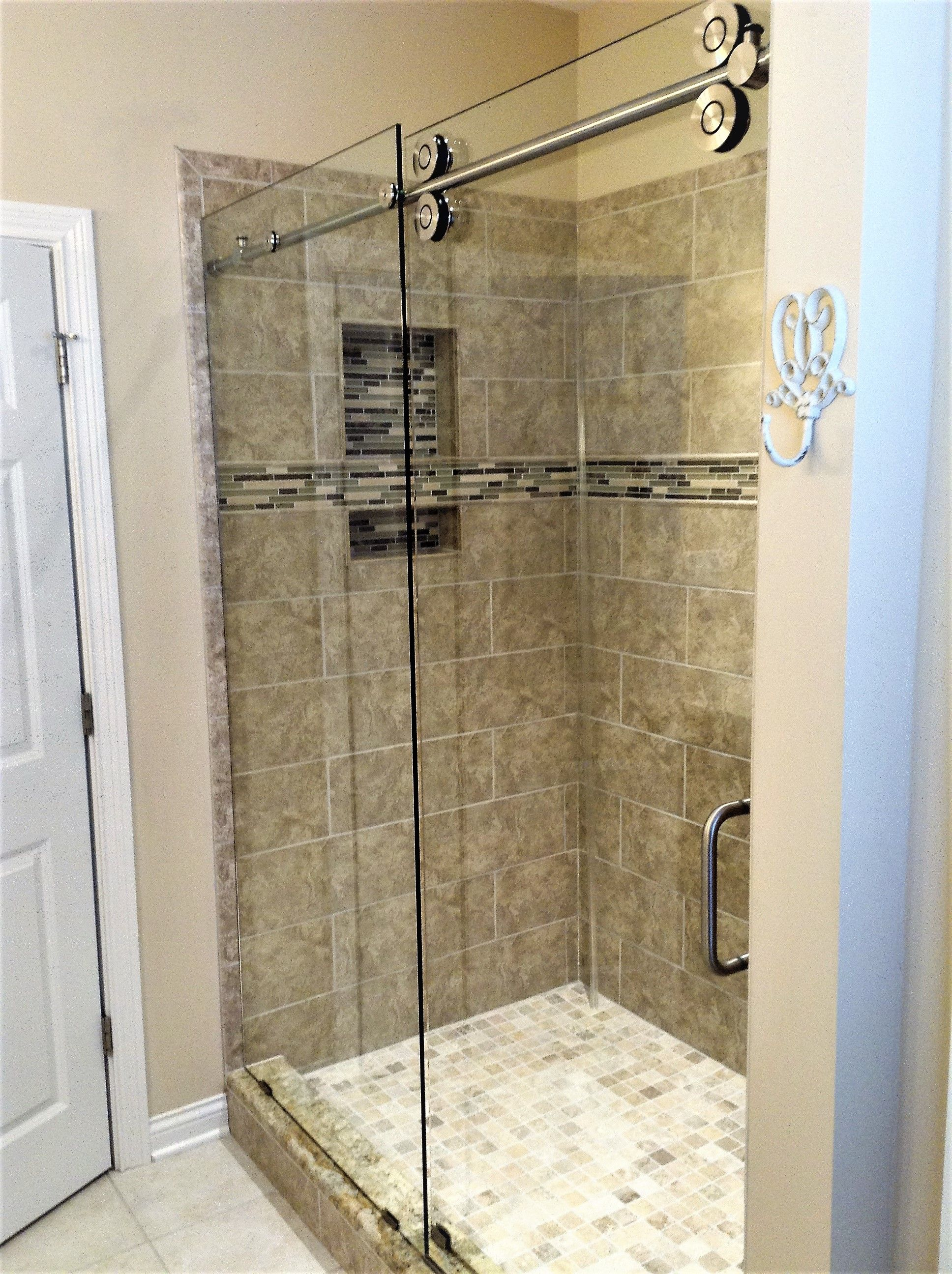 Frame Less Barn Style Shower With Large Exposed Rollers Clear
