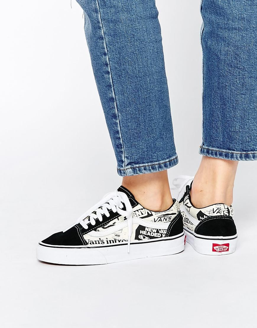 5659675482a0f Image 1 of Vans Newspaper Print Old Skool Trainers | Vans in 2019 ...