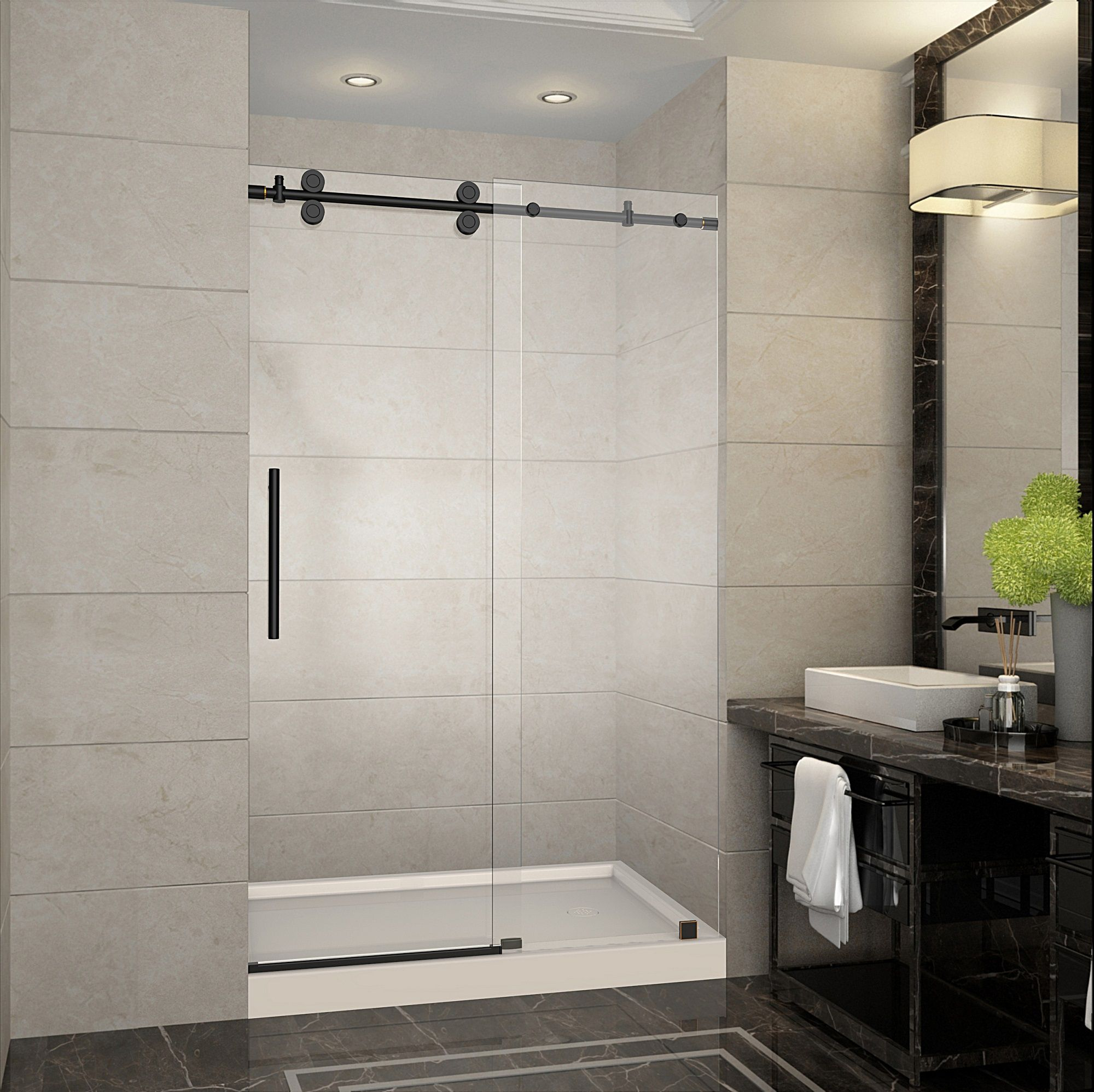 Langham 48 X 775 Completely Frameless Sliding Shower Door W Base
