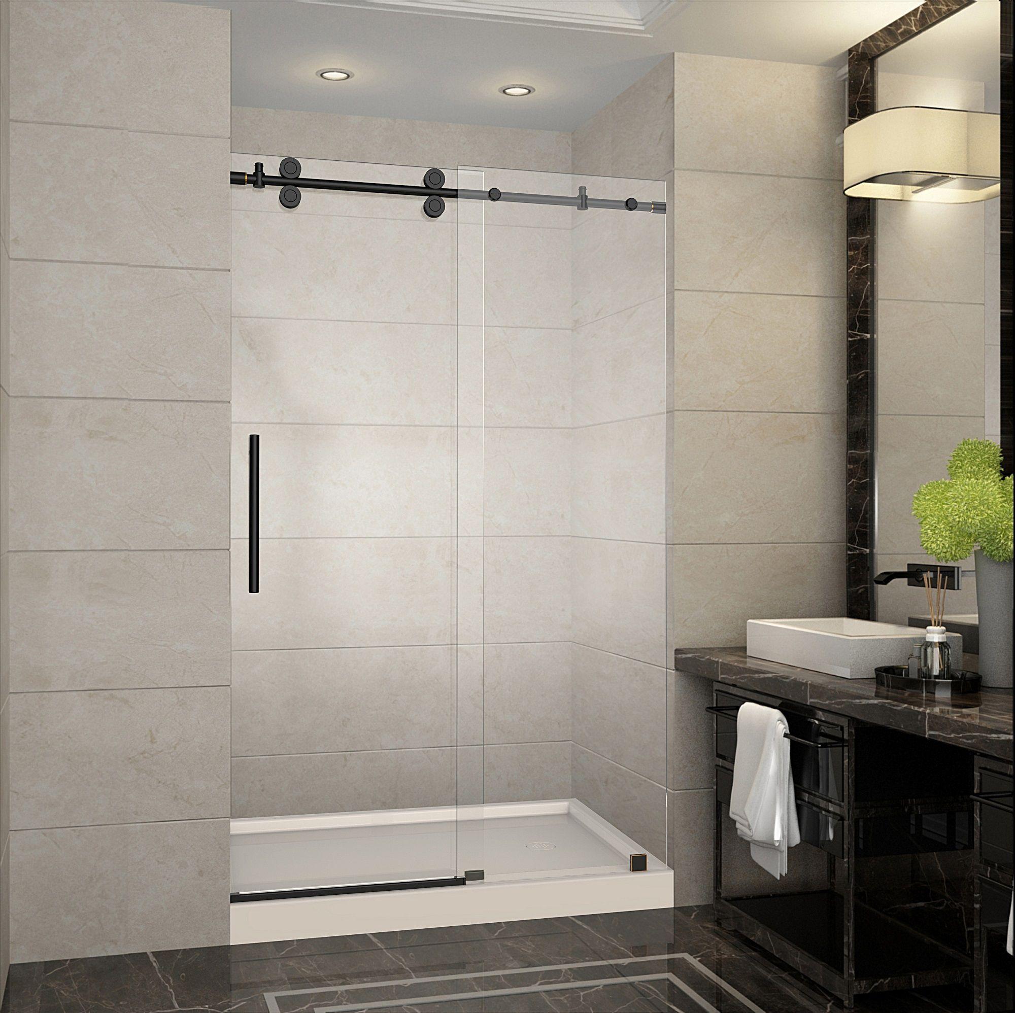 langham 48 completely frameless sliding shower door in oil rubbed bronze with left base