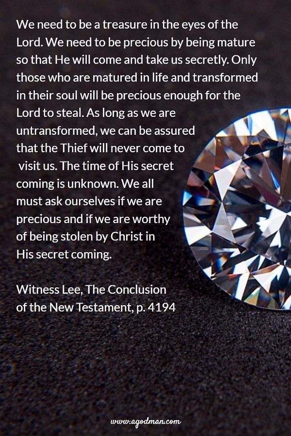 We need to be a treasure in the eyes of the Lord. We need to be precious by being mature so that He will come and take us secretly. Only those who are matured in life and transformed in their soul will be precious enough for the Lord to steal. As long as we are untransformed, we can be assured that the Thief will never come to visit us. The time of His secret coming is unknown. We all must ask ourselves if we are precious and if we are worthy of being stolen by Christ in His secret coming…
