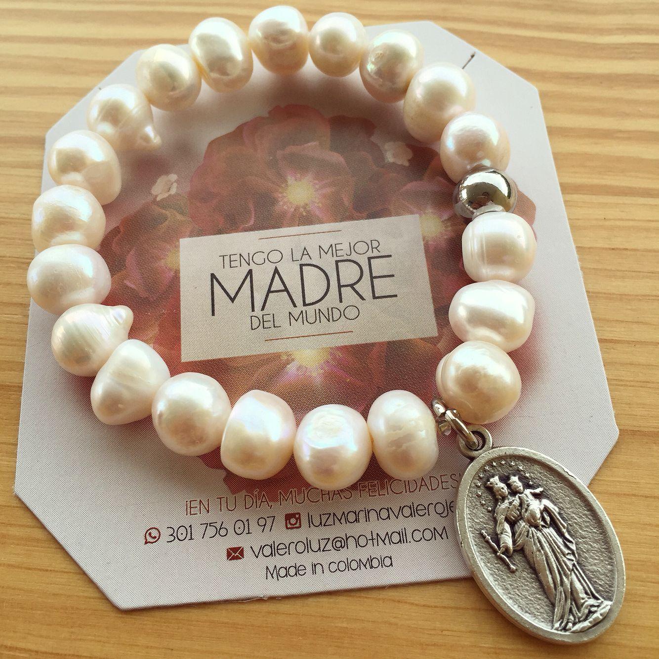 Pulsera De Perlas Con María Auxiliadora Pulsera De Perlas Perlas Pulseras