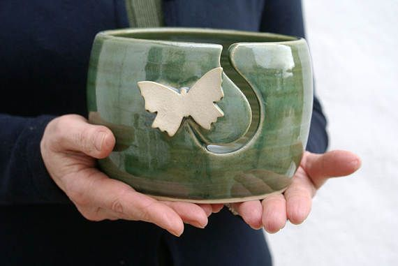 Made to Order - The butterfly yarn bowl, hand thrown custom pottery ...