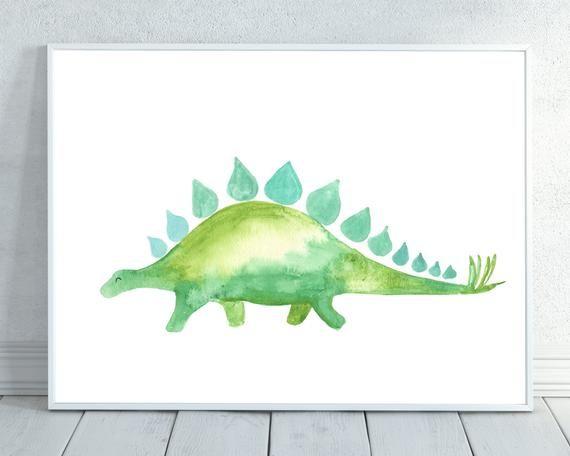 Dinosaur watercolor, Green Dinosaur, Dino, Watercolor Dinosaur, Dinosaur Painting, Nursery Print, Watercolor Animal, Nursery Wall Art, Dino