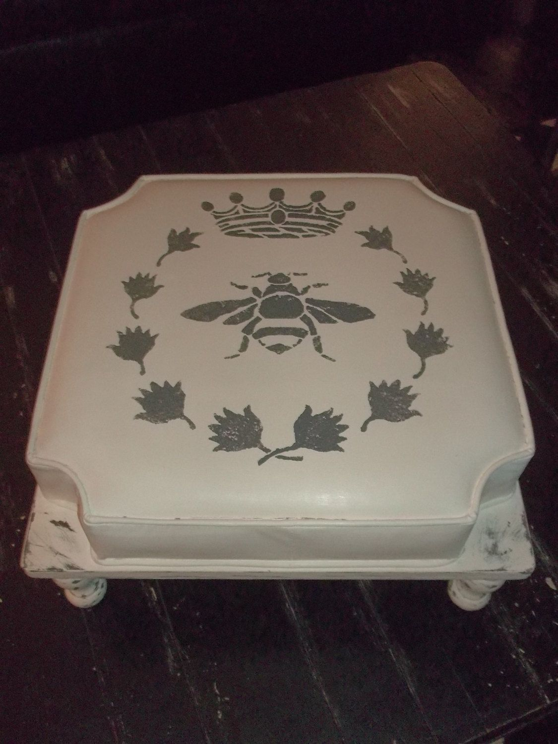 Footstool Vintage Queen Bee Shabby Chic Cushioned Footstool Cottage Chic Stool Shabby Decor by OutOfMyShabbyMind on Etsy