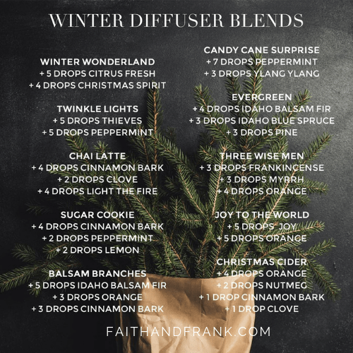 Holiday/Winter Diffuser Blends: Click for more or to order oils | Faith and Frank by Mona Moore | faithandfrank.com #winterdiffuserblends