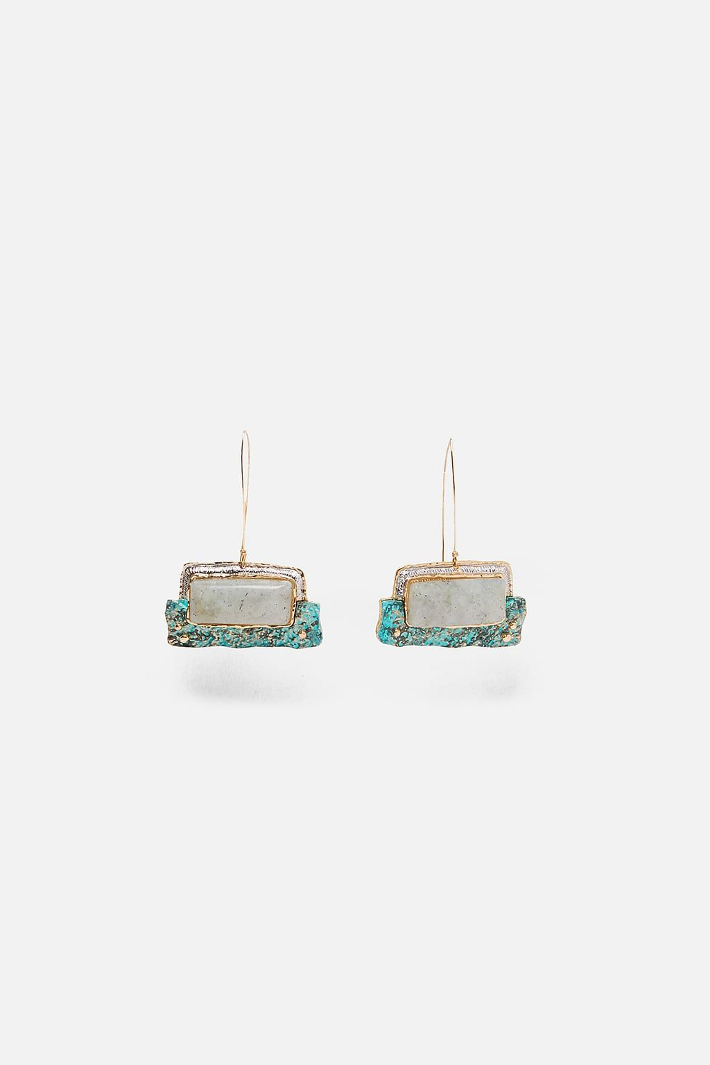 fceae3ef4b Rectangular stone earrings in 2019   Earrings   Stone earrings ...