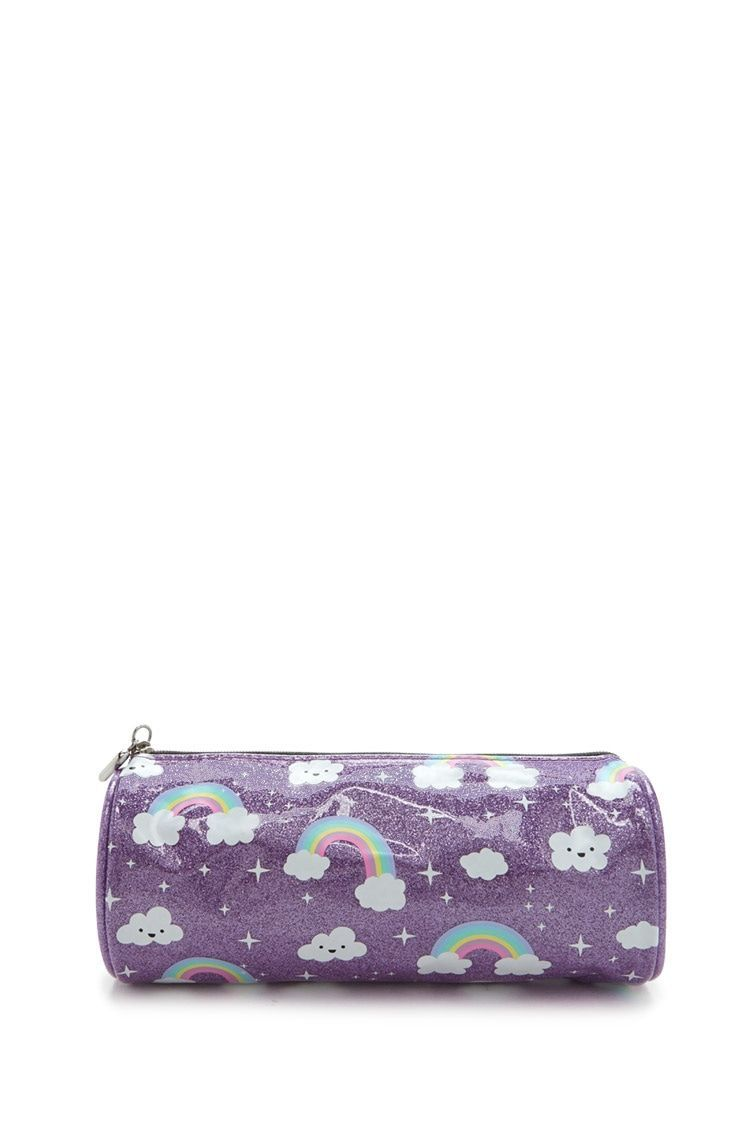 A Glittered Makeup Bag Featuring An Allover Happy Cloud And