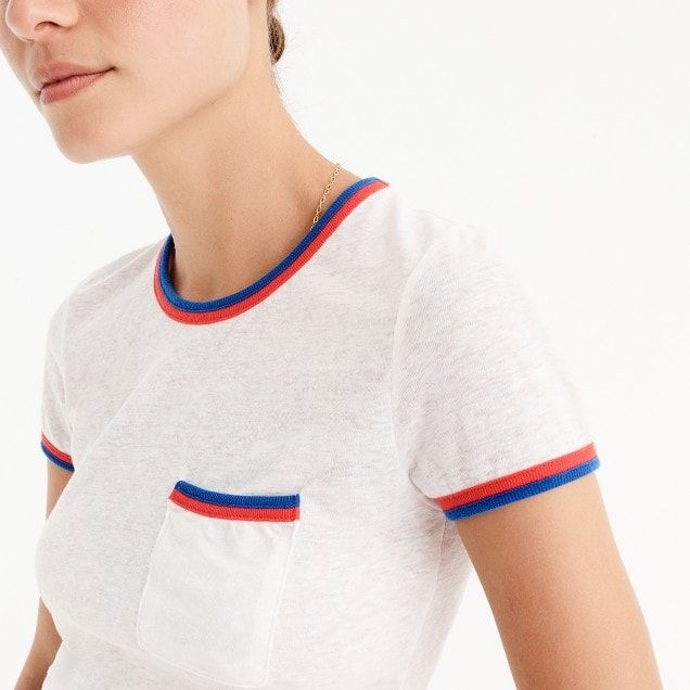 contrast-edged pocket t-shirt : women just in
