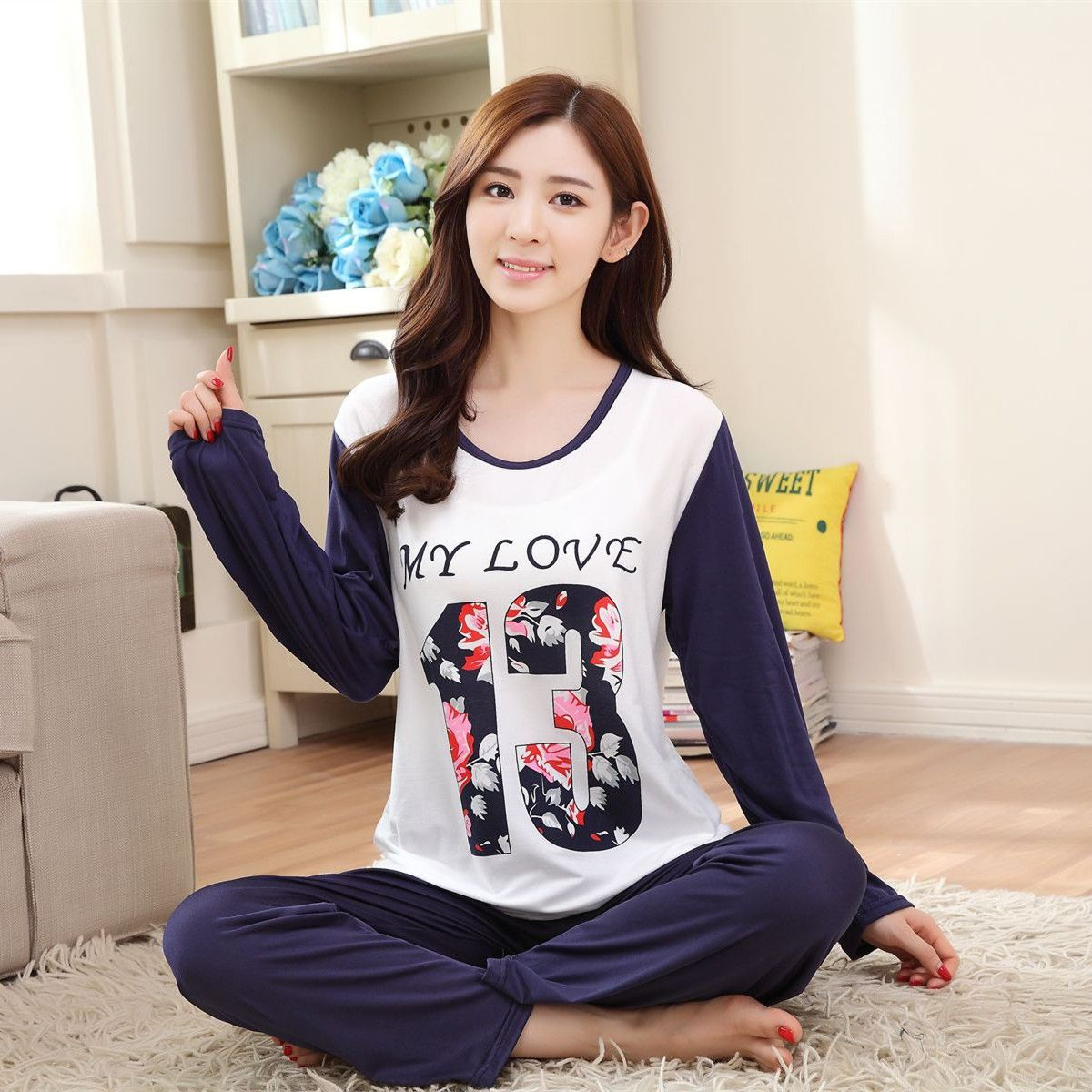 2d61b92af6b7 New Autumn  Winter Pyjamas Women Pajama Sets Cartoon nightgown for women  female girl O-Neck Long Sleeve Sleepwear free shipping