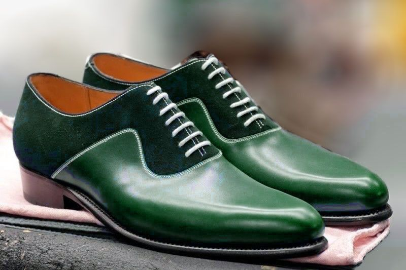 Handmade Green Leather And Suede Shoes Oxford Designer Shoes