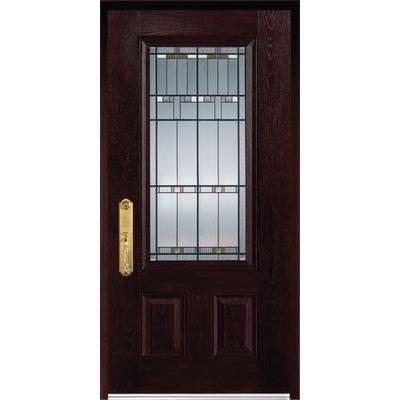Stanley Doors Fibermax 1500e R Fiberglass Pre Finished Dark Oak