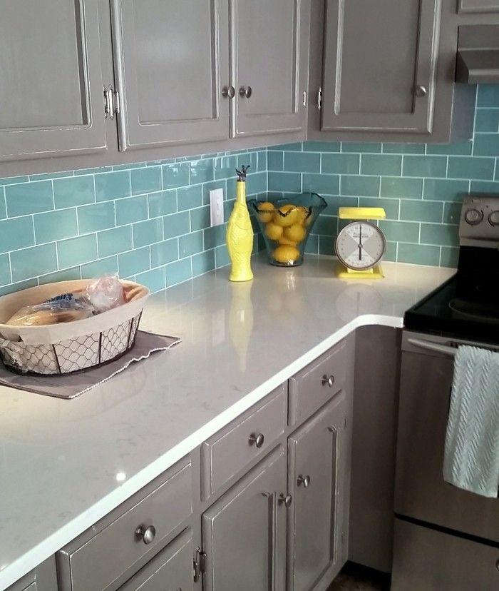 metrofliesen grüne fliesen küche graue küchenschränke - fliesen für die küche