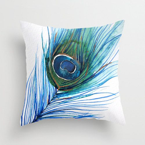 Accent Pillow Watercolor Throw Pillow Cover Peacock Feather Art Painting Decor Hand Painted Pillows Decorative Pillow Cases Decorative Throw Pillows
