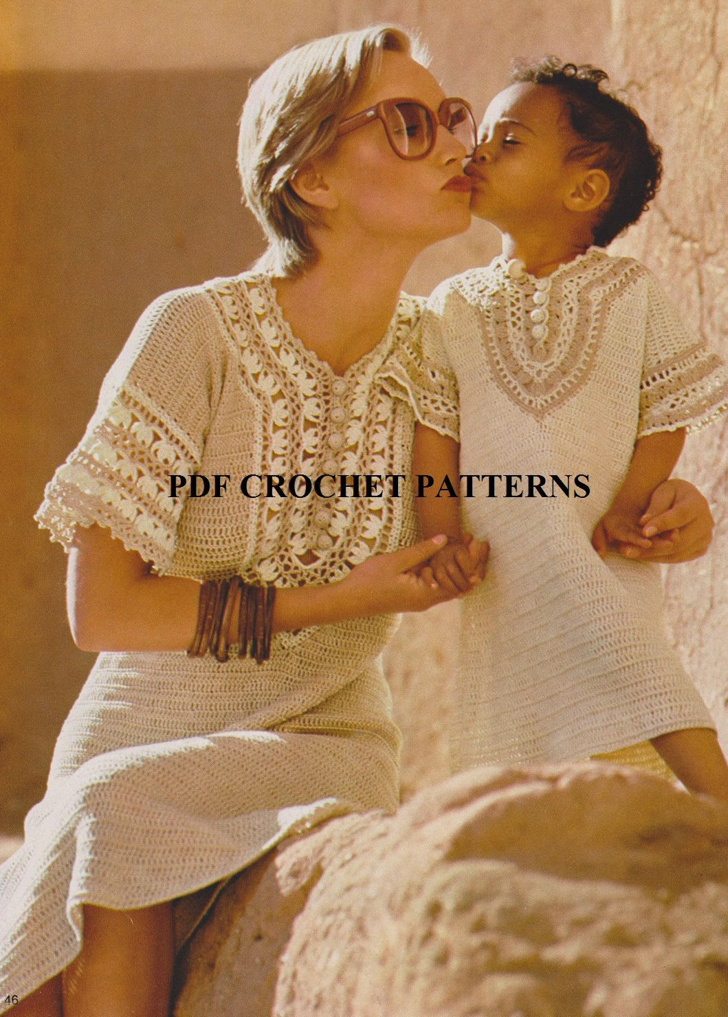 Crochet Mom and Daughter Caftan-style Dress Pattern Set #KC0630 ...