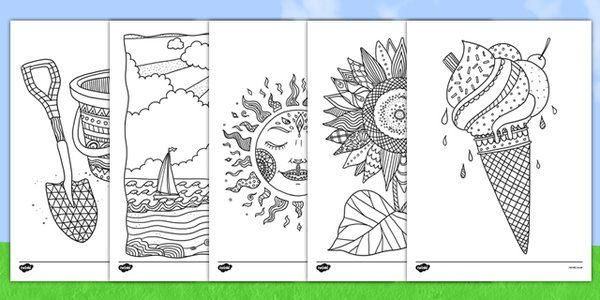 Adult Colouring Summer Mindfulness Colouring Sheets Summer Idei