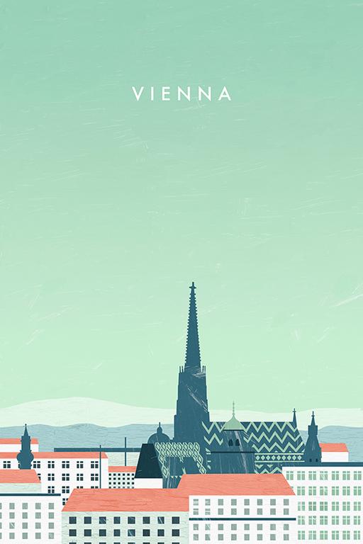 Vienna Wien Travel Poster By Katinka Reinke Vienna Travel Poster Travel Posters Tourism Poster