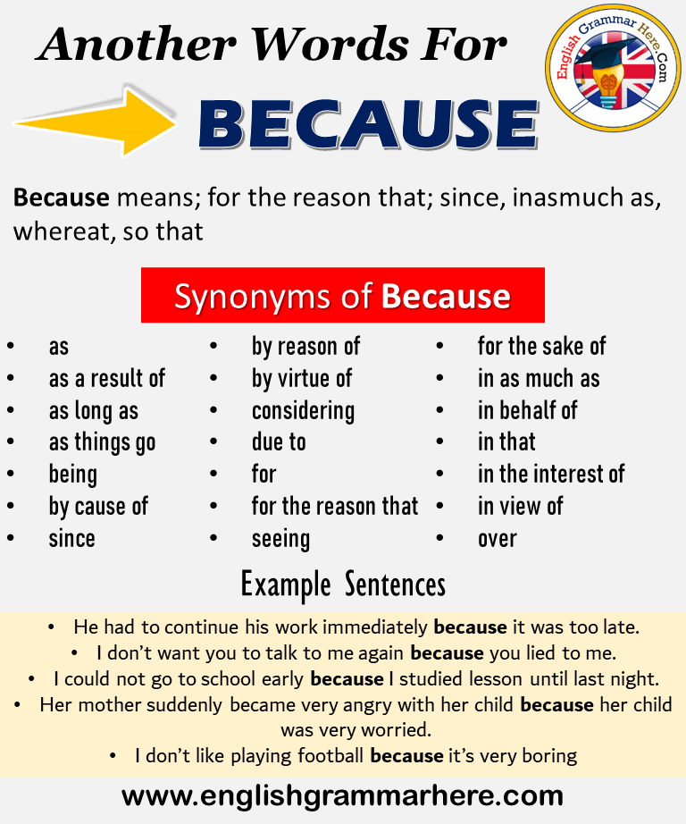 Another Word For Because What Is Another Synonym Word For Because Every Language Spoken Around The World Has Essay Writing Skills Learn A New Language Words