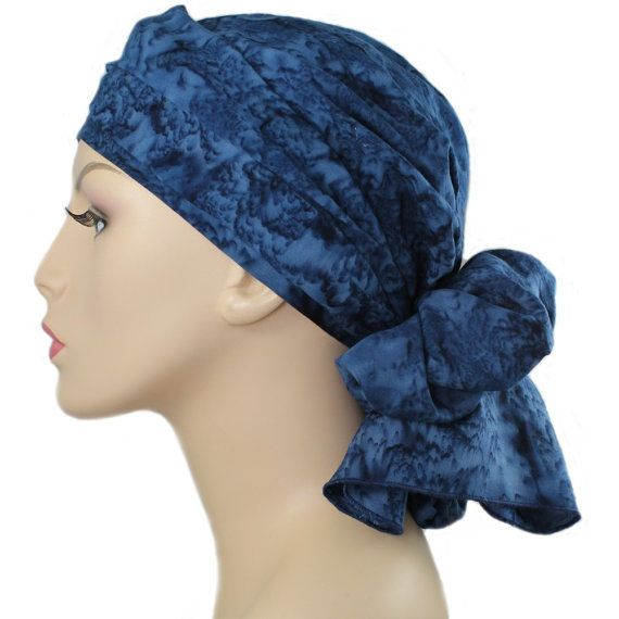 turban chemo hat wrap alopecia scarf denim blues