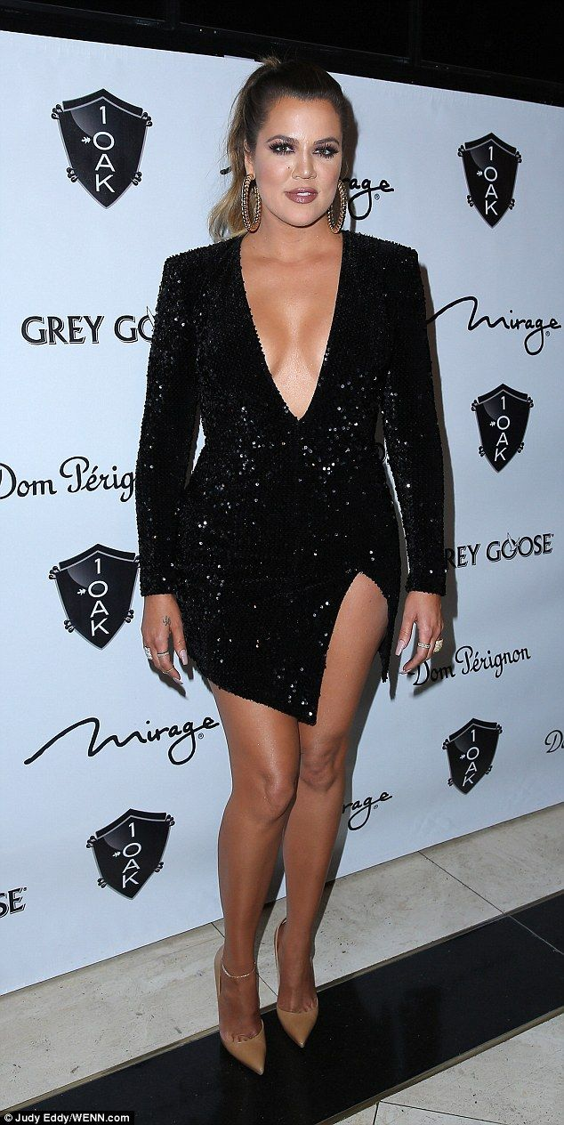 f2b133fba2d Khloe Kardashian stuns in plunging LBD as she hosts event in Las Vegas   dailymail