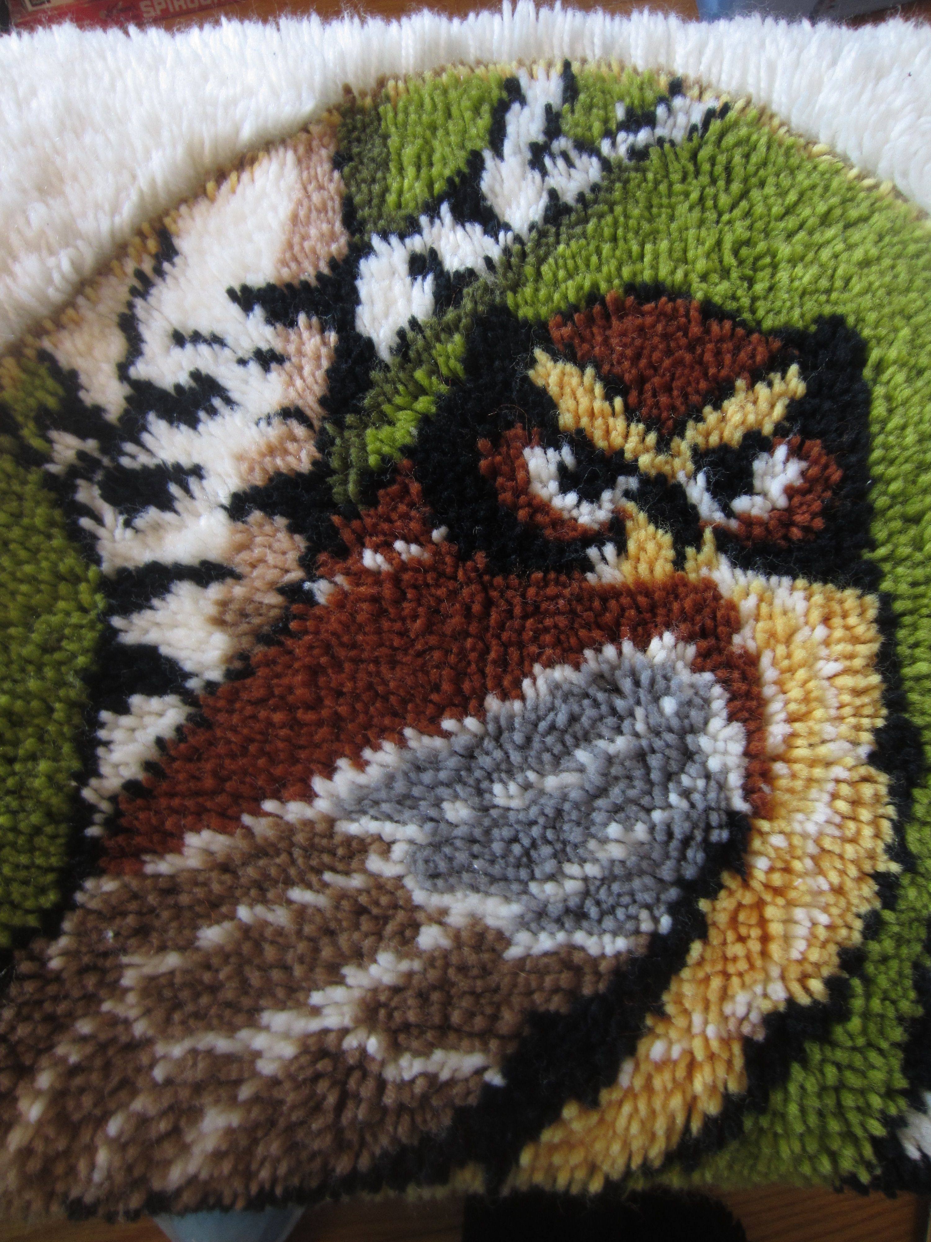 Vintage Retro Owl In Tree Hook Latch Yarn Shag Rug Wall Hanging 24x36 Mid Century Mod