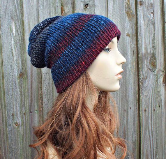 15f2a32bb1d Double Knit Hat Red and Blue Womens Beanie Mens Beanie