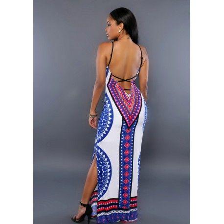 Robe longue imprimée graphique multicolore