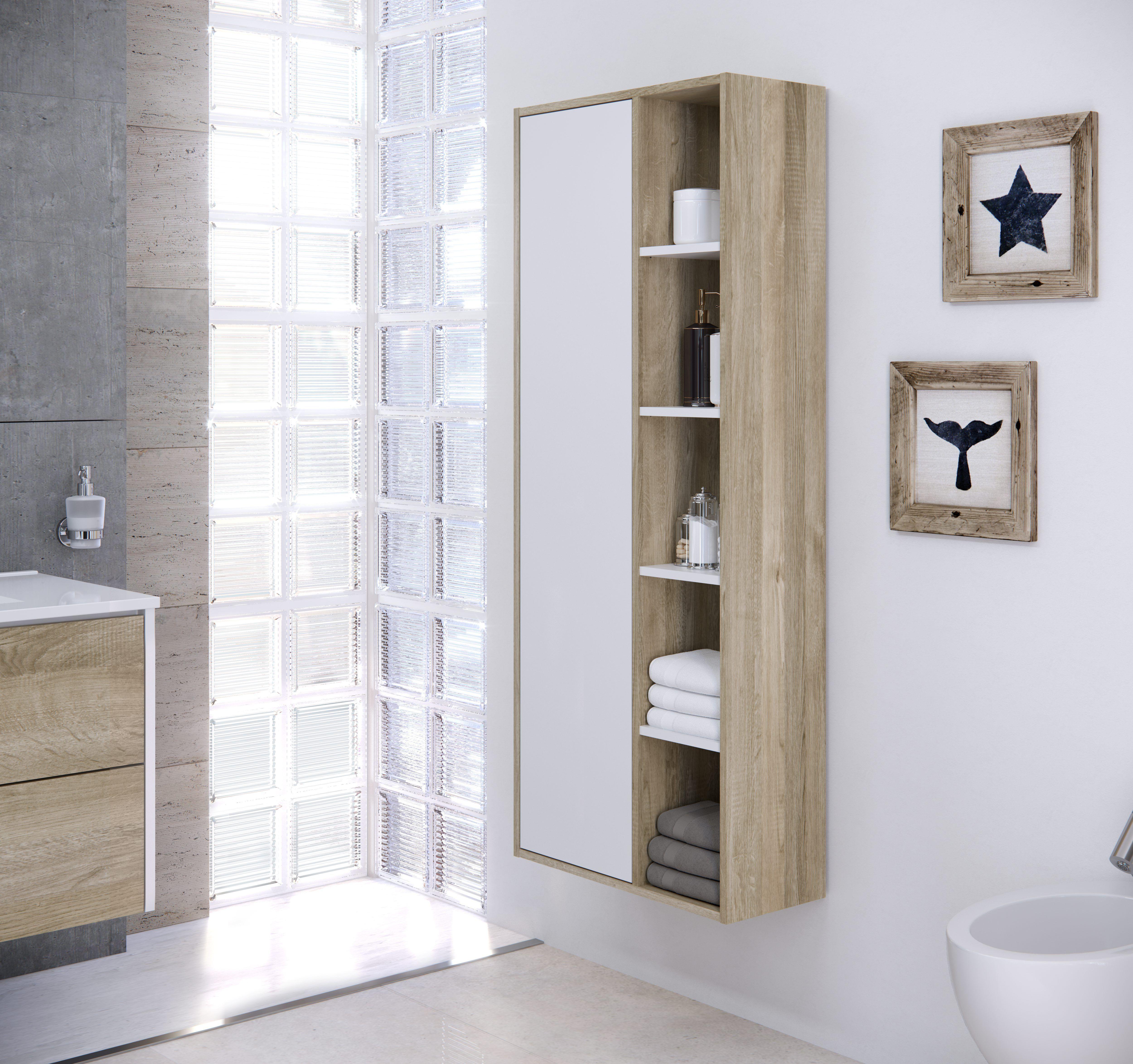 Colonne de salle de bain CUBA à suspendre blanc et chêne en 2019 ...
