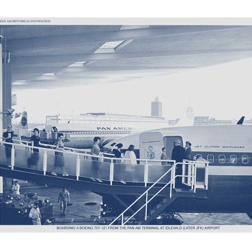 Passengers boarding Clipper Mayflower at the Worldport. She was the 3rd 707 to be delivered to Pan Am (10/16/1958)