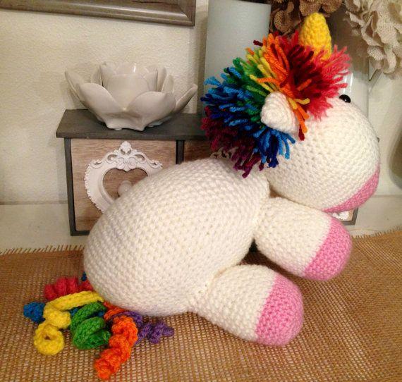 Rainbow Unicorn by NannysKnotsnClocks on Etsy