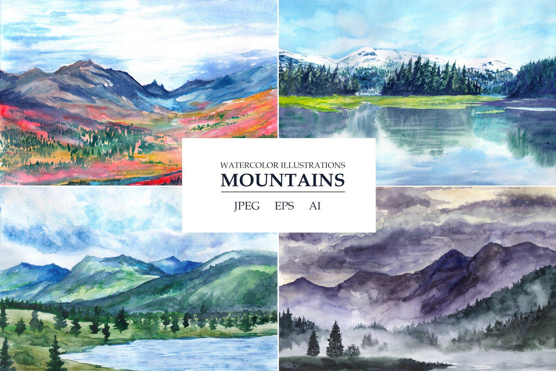 Watercolor Landscapes Mountains Watercolor Landscape Watercolor Mountains Landscape