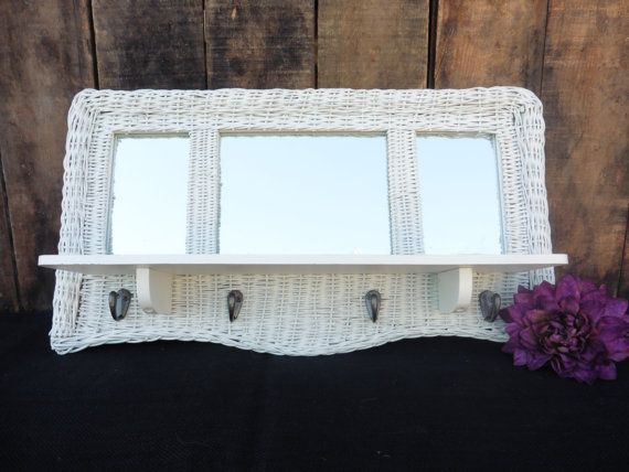 Vintage white wicker rattan wall mirror and shelf with - White wicker bathroom accessories ...