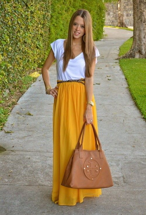 Mustard yellow maxi dress - white tee - brown/black belt - brown ...