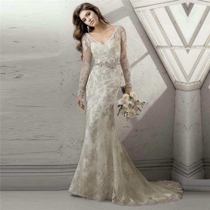 свадебное платье с длинными кружевными рукавами: 13 тыс ...