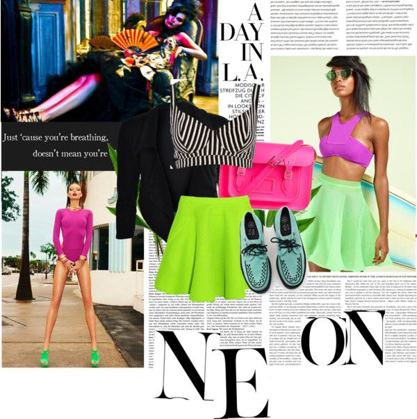 """Neon Trend"" by free-fashion ❤ liked on Polyvore"