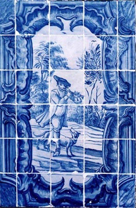 Portuguese 18th century blue white ceramic tile mural for Ceramic mural tiles