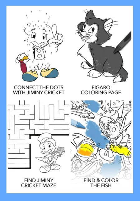 The Printable Pinocchio Activity Sheets Include Puzzles Coloring
