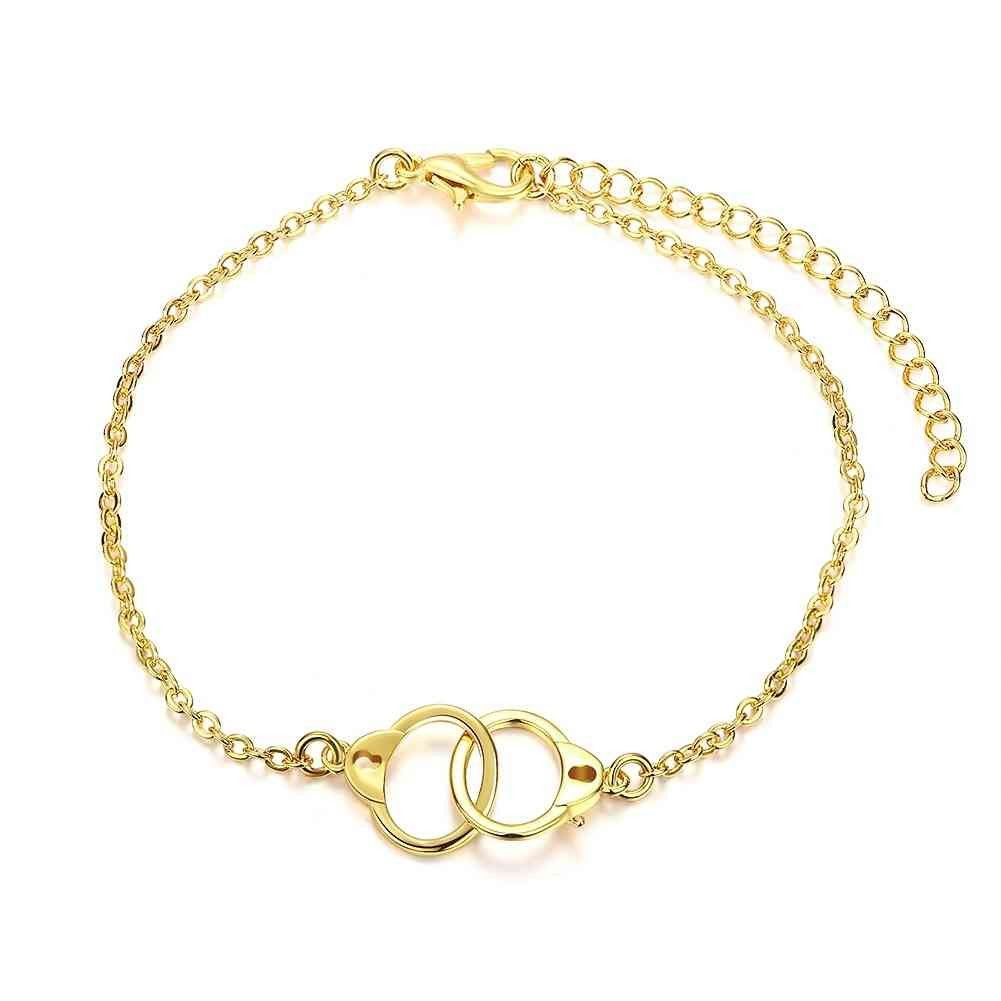 Hot fashion silver charm bracelet handcuffs pulseras mujer fine