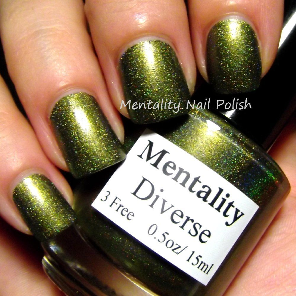 Mentality - Diverse, a blackened dark yellow green holographic nail ...