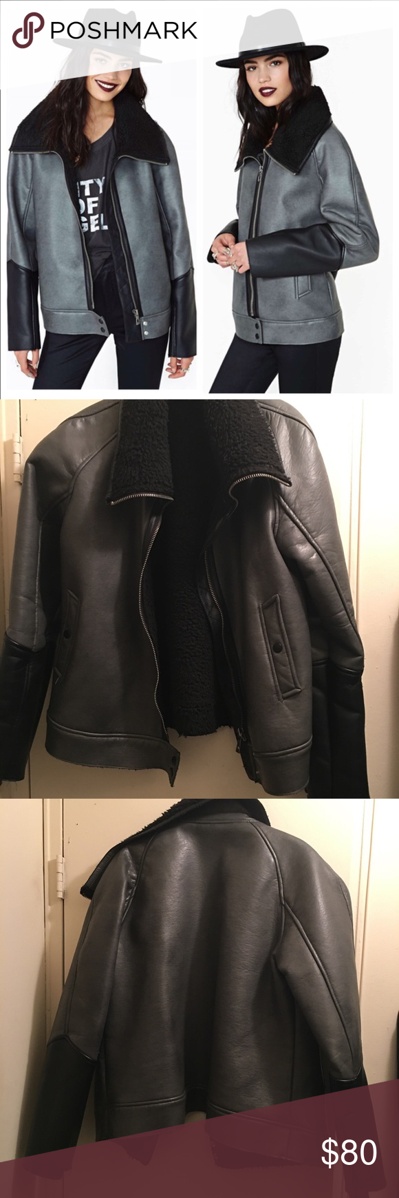 Eternal City Faux Leather Shearling Moto Jacket Slightly Worn Faux Leather Shearling Moto Jacket Nasty Gal Jackets & Coats
