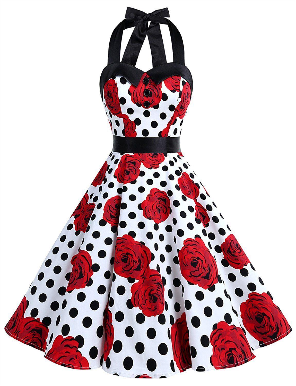 Vintage Polka Dot Retro Cocktail Prom Dresses 50s Rockabilly Bandage