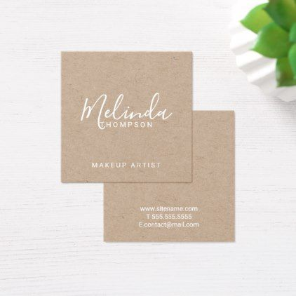 Professional modern script kraft paper square business card reheart Image collections