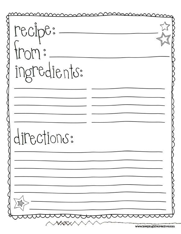 Class Recipe Book Template  Google Search  Auction Ideas