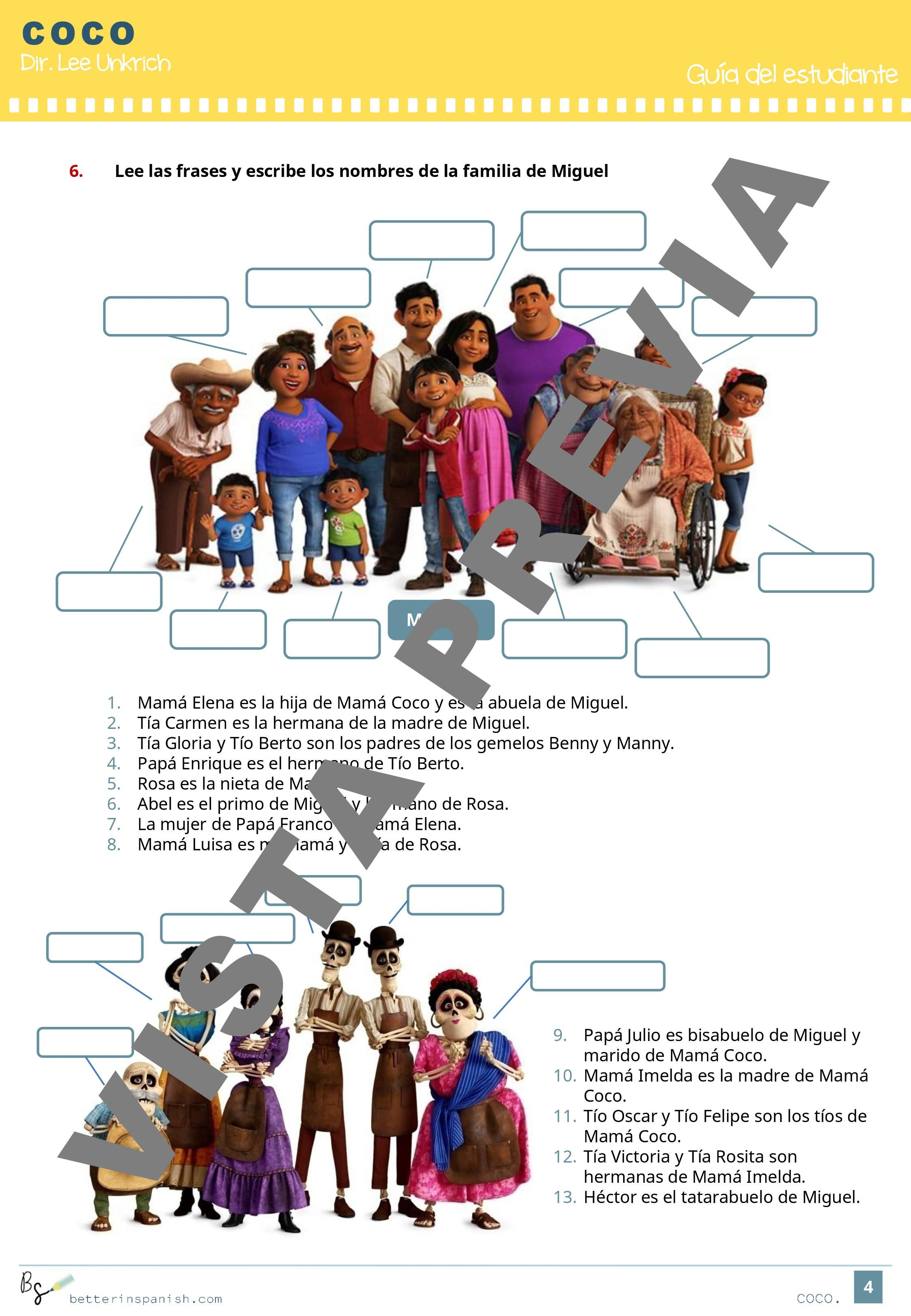 Actividades Pedagogicas Sobre La Pelicula Coco