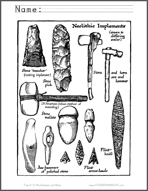This fun, unique coloring page introduces students to common tools of the Neolithic (New Stone Age): a stone tranchet, stone pick, stone mallet, horn axe, horn hammer, polished stone axe-hammer, flint arrowhead, and flint knife. Free to print (PDF).