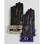 Bloomingdale's Rabbit Fur Cuff Nappa Leather Gloves