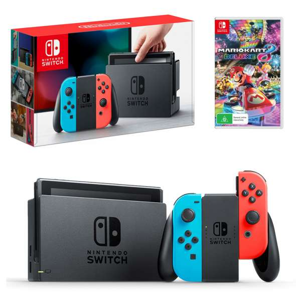 Nintendo Switch Neon Joy Con Console With Mario Kart 8 Deluxe Bundle 470 Nintendo Nintendo Switch Mario Kart