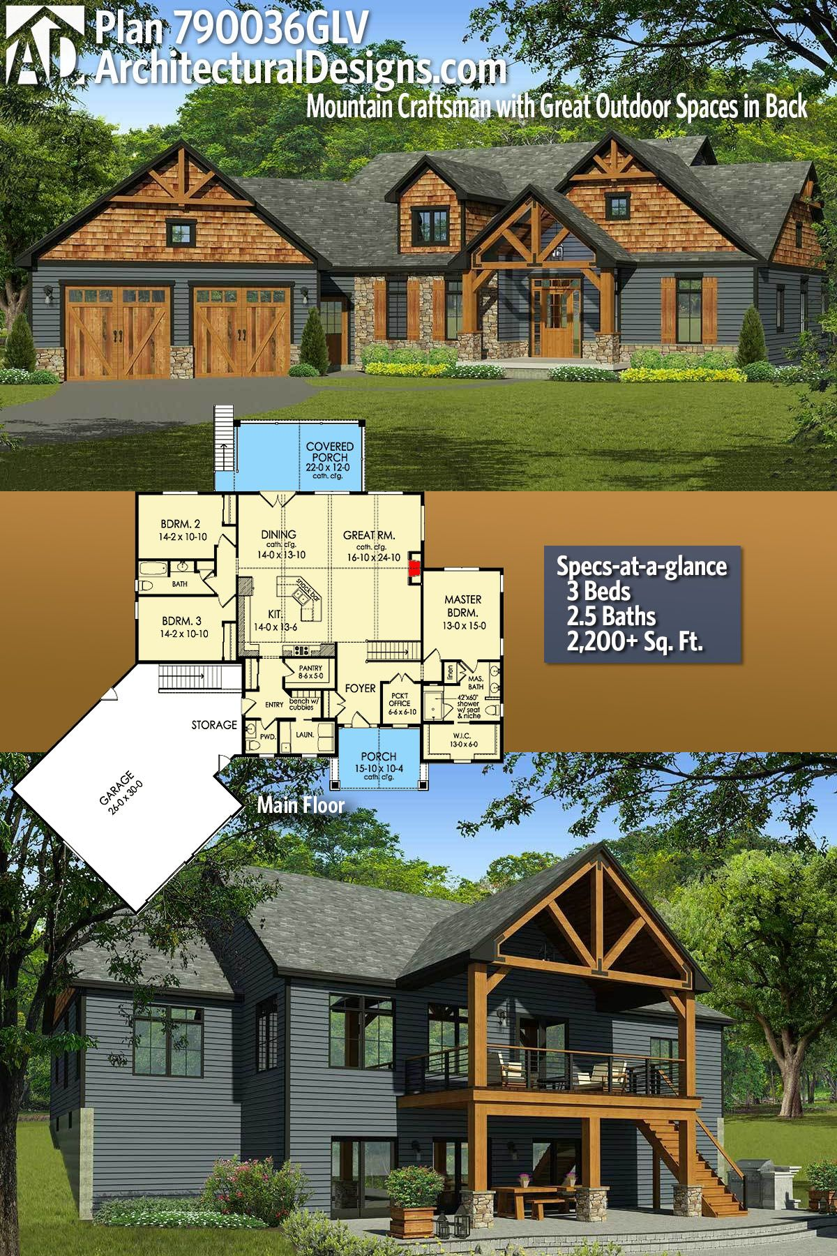 Plan 790036glv 3 Bed Mountain Craftsman With Great Outdoor Spaces In Back Craftsman House Plans Lake House Plans New House Plans
