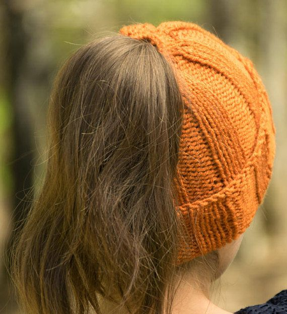 Pony Tail Hat - Satin Lined Afro Puff Hat - Messy Bun Knit Beanie in
